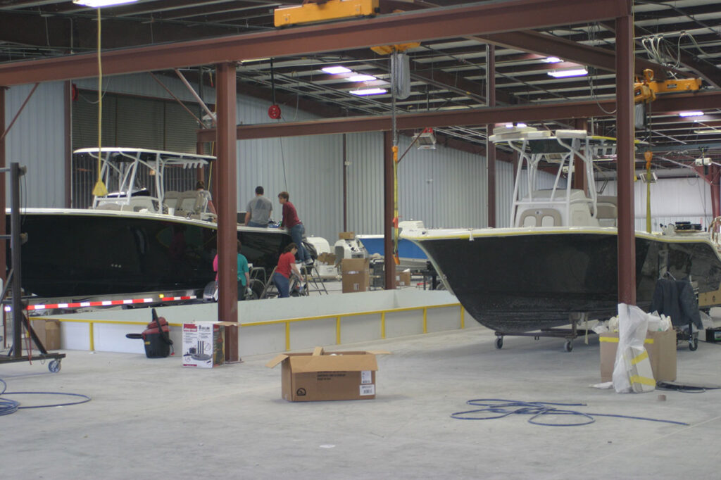 Boats being built in the plant.