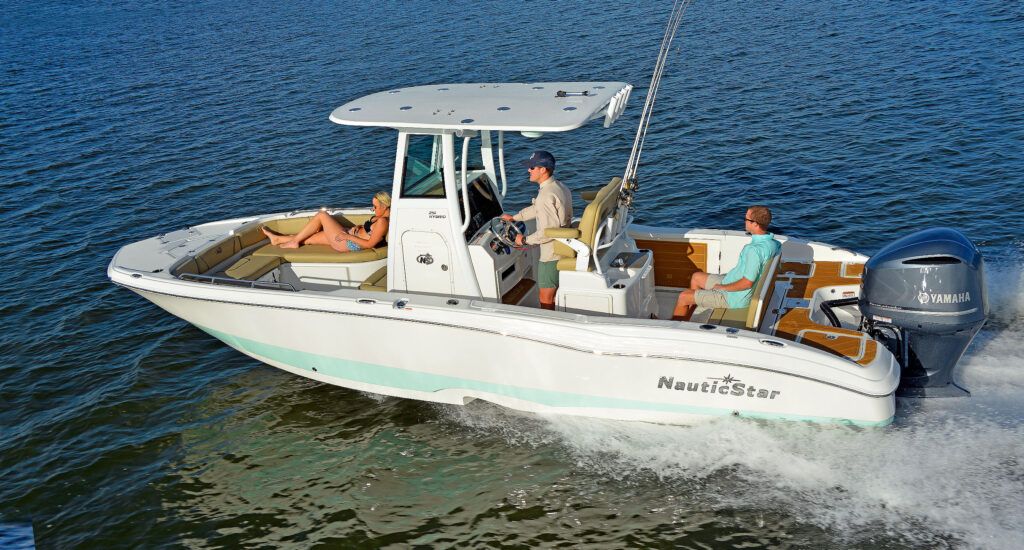 251 Hybrid boat by NauticStar on the water
